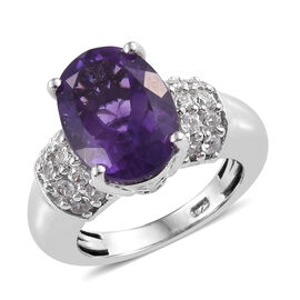 Amethyst (Ovl 14x10 mm), Natural Cambodian Zircon Ring in Platinum Overlay Sterling Silver 6.500 Ct,