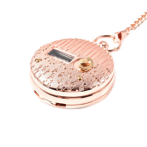 STRADA Japanese Movement Train Pattern Water Resistant Music Pocket Watch with Chain (Size 14) in Rose Gold Tone