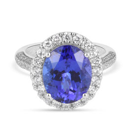 RHAPSODY 950 Platinum AAAA Tanzanite (OV12x10, 5.50 Ct) and Diamond (VS/E-F) Ring 6.50 Ct, Platinum