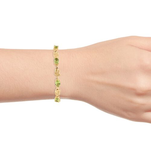 Designer Inspired- Hebei Peridot (Ovl) Adjustable Elephant Bracelet (Size 6.5 to 9) in 18K Yellow Gold Plated 3.250 Ct