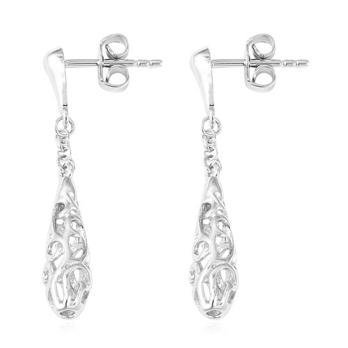 LucyQ Rhodium Overlay Sterling Silver Air Drip Earrings (with Push Back)
