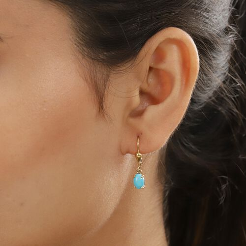 Arizona Sleeping Beauty Turquoise Lever Back Earrings in 14K Gold Overlay Sterling Silver 1.33 Ct.