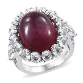 20 Carat African Ruby and White Topaz Halo Ring in Platinum Plated Sterling Silver 5.50 Grams