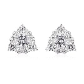 J Francis- Sterling Silver Solitaire Stud Earrings (with Push Back) Made with SWAROVSKI ZIRCONIA