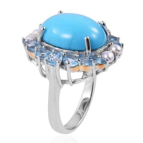 Arizona Sleeping Beauty Turquoise (Ovl 6.50 Ct), Swiss Blue Topaz and Fresh Water Pearl Ring in Rhodium and Yellow Gold Overlay Sterling Silver 9.310 Ct. Silver wt 5.73 Gms.