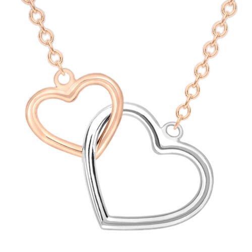 9K Rose and White Gold Interlocked Heart Chain (Size 17 with 1 inch Extender), Gold wt 2.10 Gms