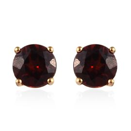 Mozambique Garnet (Rnd) Stud Earrings (with Push Back) in 14K Gold Overlay Sterling Silver 2.00 Ct.