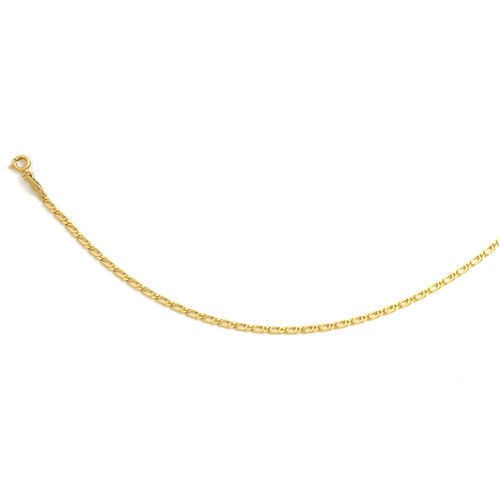 Italian Made - 9K Yellow Gold Double Curb Necklace (Size 18)