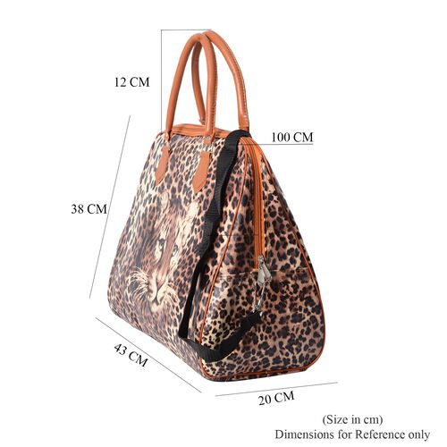 Brown Colour Leopard Pattern Water Resistant Tote Bag (Size 43x16x38 Cm) with Zipper Closure and Detachable Shoulder Strap