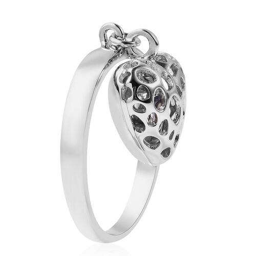 RACHEL GALLEY Angel Heart Collection - Tanzanite Lattice Heart Charm Ring in Rhodium Overlay Sterling Silver