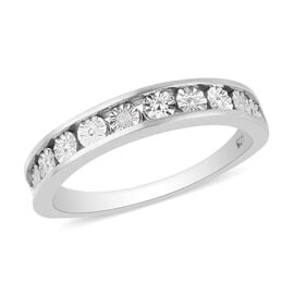 One Time Deal- Diamond Band Ring in Platinum Overlay Sterling Silver