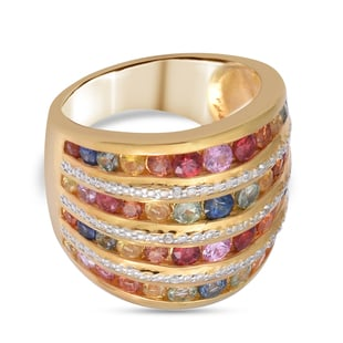 Rainbow Sapphire and Natural Cambodian Zircon Ring in 14K Gold Overlay Sterling Silver 3.30 Ct.