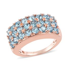 J Francis Crystal from Swarovski Aquamarine Colour Crystal Cluster Ring with Magnet in Rose Gold Ton