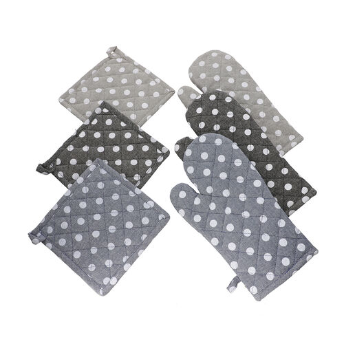 Set of 6 - 100% Cotton Polkadot Printed Potholder (20x20cm) and Gloves (31x18cm) - Blue, Grey and Bl