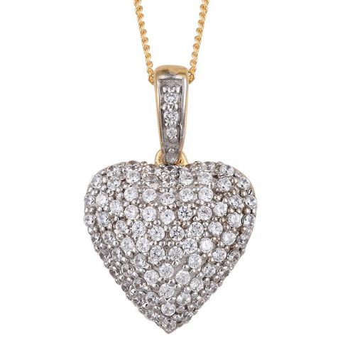 J Francis - 14K Gold Overlay Sterling Silver (Rnd) Heart Pendant With Chain Made with SWAROVSKI ZIRCONIA