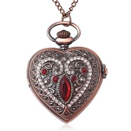 STRADA Japanese Movement Simulated Ruby (Mrq), Multicolour Austrian Crystal Water Resistant Heart Po