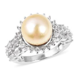 Golden South Sea Pearl and Cambodian Zircon Halo Ring in Rhodium Plated Sterling Silver 6 Grams