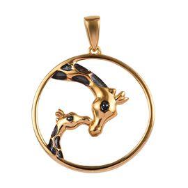 14K Gold Overlay Sterling Silver Giraffe Mother-Child Love Pendant, Silver wt 3.14 Gms