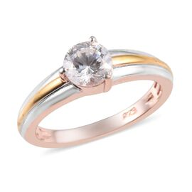 J Francis - Platinum, Yellow and Rose Gold Overlay Sterling Silver (Rnd) Ring Made with SWAROVSKI ZI