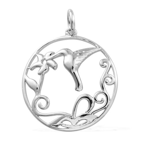 Platinum Overlay Sterling Silver Humming Bird and Floral Pendant, Silver wt 3.89 Gms.