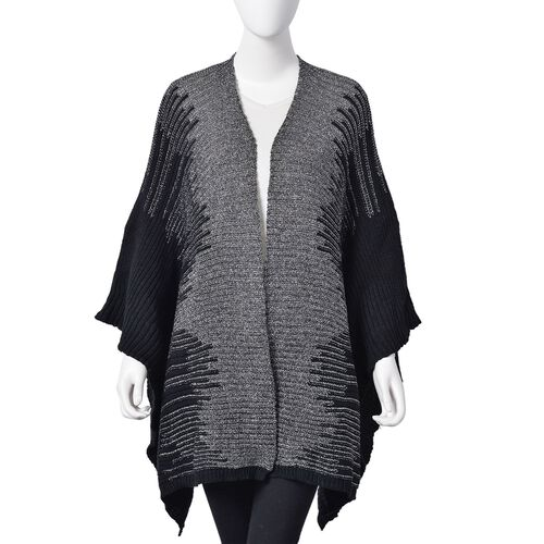 Designer Inspired Sparkle Black and Grey Colour Knitted Kimono (Size 115X60 Cm)