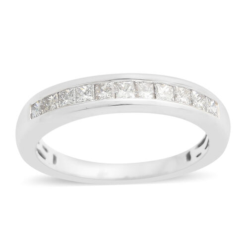 WEBEX- ILIANA 18K W Gold IGI Certified Diamond (Sqr) (SI/ G-H) Half Eternity Band Ring 0.500 Ct.