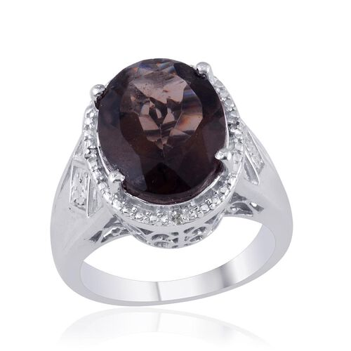Brazilian Smoky Quartz (Ovl 6.75 Ct), Diamond Ring in Platinum Overlay Sterling Silver 6.770 Ct.