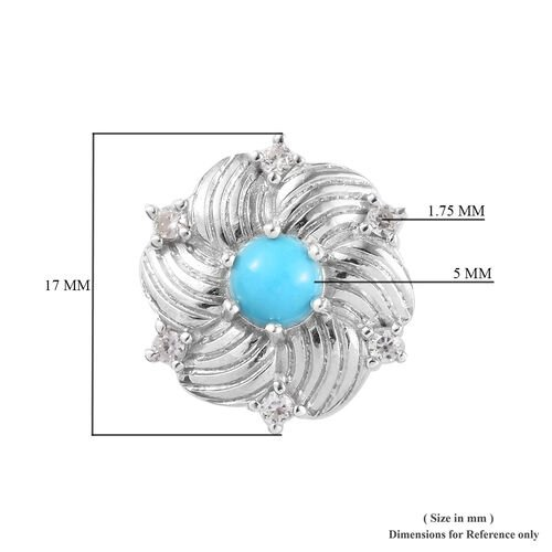Arizona Sleeping Beauty Turquoise and Natural Cambodian Zircon Floral Stud Earrings (with Push Back) in Platinum Overlay Sterling Silver 1.30 Ct.