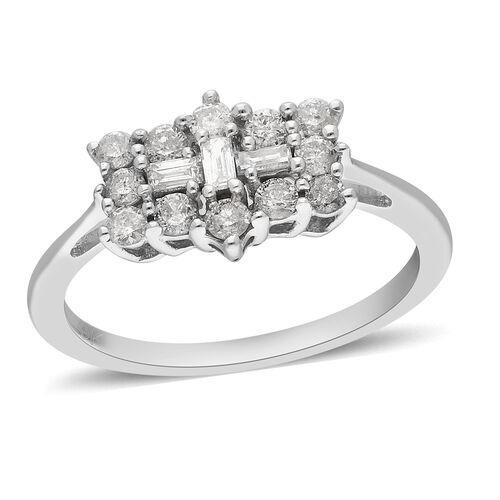 9K White Gold SGL Certified Diamond (I3/G-H) Boat Ring 1.00 Ct.