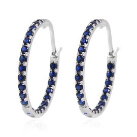Super Auction-  ELANZA  Simulated Blue Sapphire (Rnd) Hoop Earrings (with Clasp Lock) in Rhodium Overlay Sterling Silver
