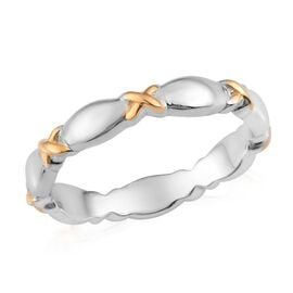 Platinum and Yellow Gold Overlay Sterling Silver Band Ring