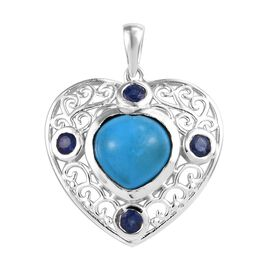 Blue Howlite (Hrt 10 mm), Masoala Sapphire Heart Pendant in Sterling Silver 3.500 Ct.