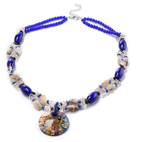 Blue Murano Beads, White Austrian Crystal, Red Garnet and Multi Gemstone Nceklace (Size 28 with 3 in