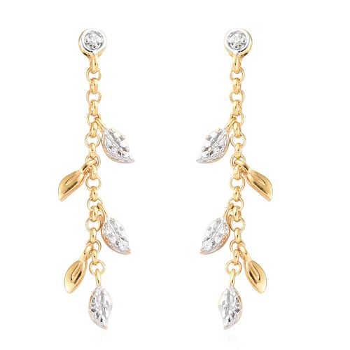 J Francis - Yellow Gold and Platinum Overlay Sterling Silver (Rnd) Leaf Dangle Earrings (with Push B