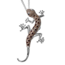 Multi Colour Austrian Crystal Lizard Pendant With Chain (Size 24) or Brooch in Stainless Steel