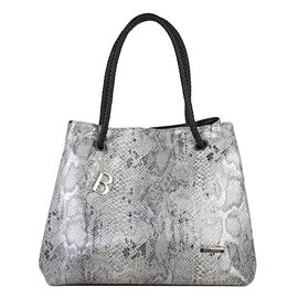 Bulaggi Collection - Jade Snake Print Shopping Bag (Size 35x30x17 Cm) - Black, White and Silver