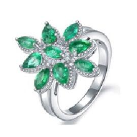 AAA Kagem Zambian Emerald (Mrq), Diamond Cluster Ring in Rhodium Overlay Sterling Silver