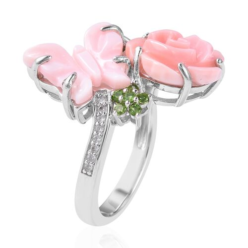 Jardin Collection - Pink and White Mother of Pearl, Russian Diopside and Natural White Cambodian Zircon Ring in Rhodium Overlay Sterling Silver