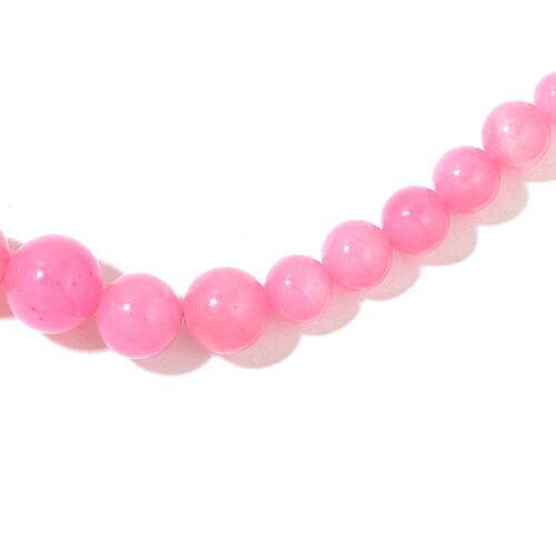 Burmese Pink Jade Ball Necklace (Size 18 with 2 inch Extender) and Earrings in Rhodium Plated Sterling Silver 294.500 Ct.