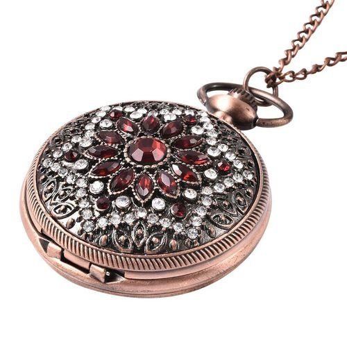 STRADA Japanese Movement Simulated Ruby, White Austrian Crystal Flower Pattern Pocket Watch with Chain (Size 31) in Antique Rose Gold and Black Plated