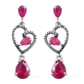 6.34 Ct African Ruby Heart Drop Earrings in Rhodium and Black Plated Silver