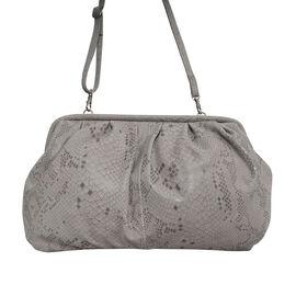 ASSOTS LONDON Harper Genuine Leather Snake Print Oversized Clutch Bag with Adjustable Shoulder Strap