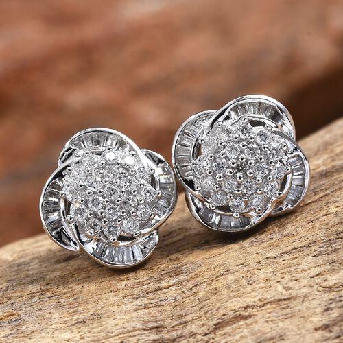 9K White Gold SGL Certified Diamond (G-H/I3) Earrings (with Push Back) 0.50 Ct.