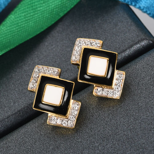 GP Art Deco - Natural Cambodian Zircon and Blue Sapphire Enamelled Earrings in 14K Gold Overlay Sterling Silver