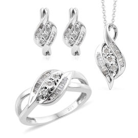 Mega Day Super Buy- Set of 4- Diamond Ring, Pendant with Chain (Size 20) and Earrings in Platinum Overlay Sterling Silver