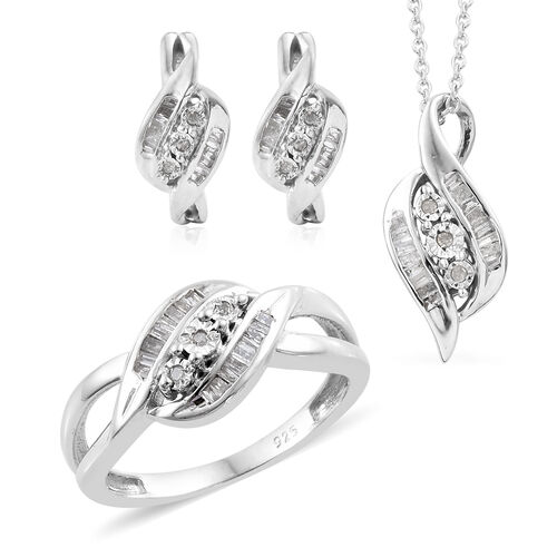 3 Piece Set- Diamond (Bgt) Ring, Pendant with Chain (Size 20) and Earrings (with push Back) in Platinum Overlay Sterling Silver