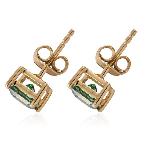J Francis - 14K Gold Overlay Sterling Silver (Princess Cut) Stud Earrings (with Push Back) Made with Green SWAROVSKI ZIRCONIA
