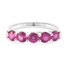 Pink Ruby 5-Stone Ring in Sterling Silver 1.50 Ct.
