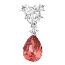 J Francis Orange Crystal and Swarovski White Crystal from Swarovski Teardrop Pendant
