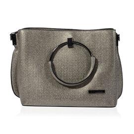 Bulaggi Collection - Stacey Metallic Handbag (Size 24x20x11 Cm) - Pewter